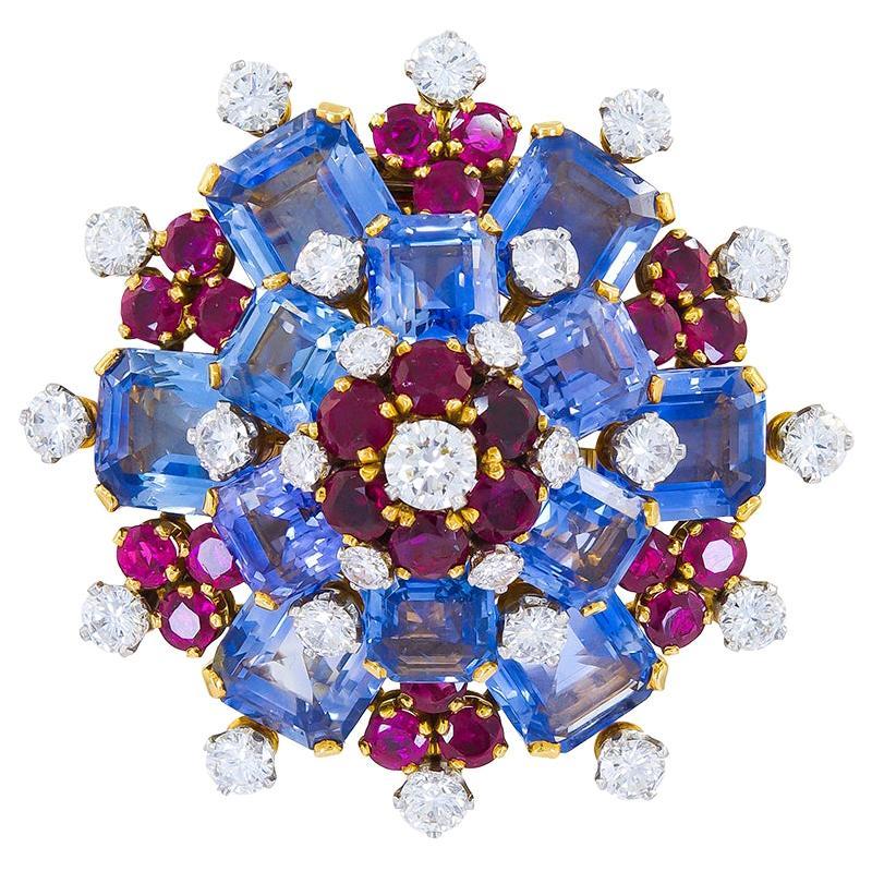 Bulgari Diamond Sapphire Ruby Yellow Gold Platinum Brooch