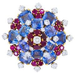 Bulgari Sapphire, Ruby and Diamond Brooch