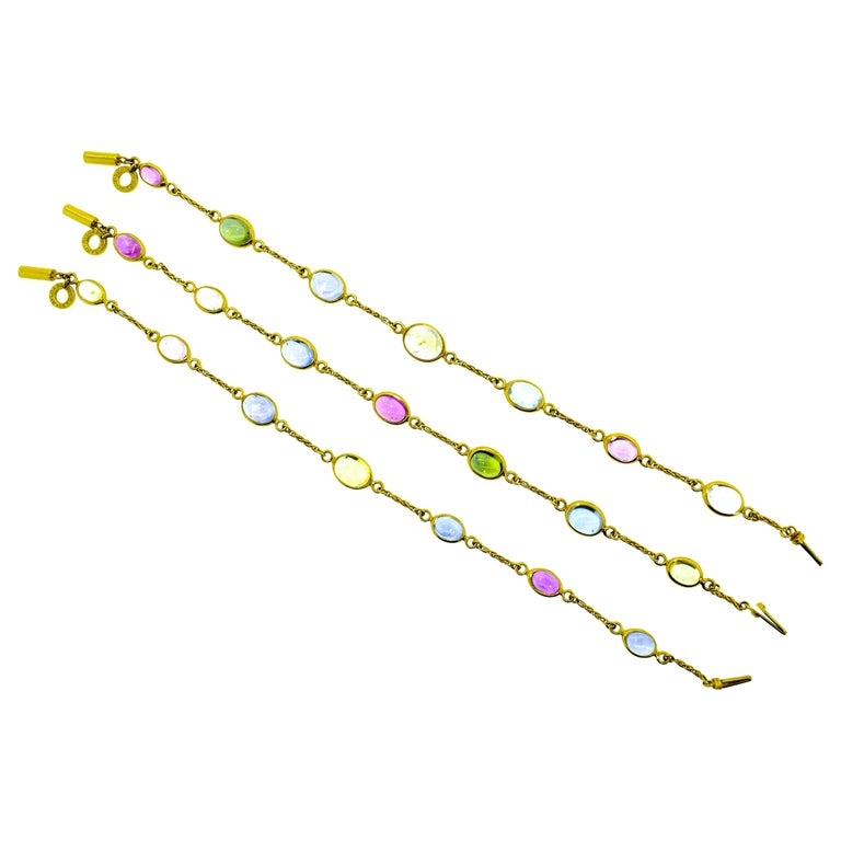 Bulgari Sapphire Stone 18 Karat Necklace Which Converts to 3 Bracelets For Sale
