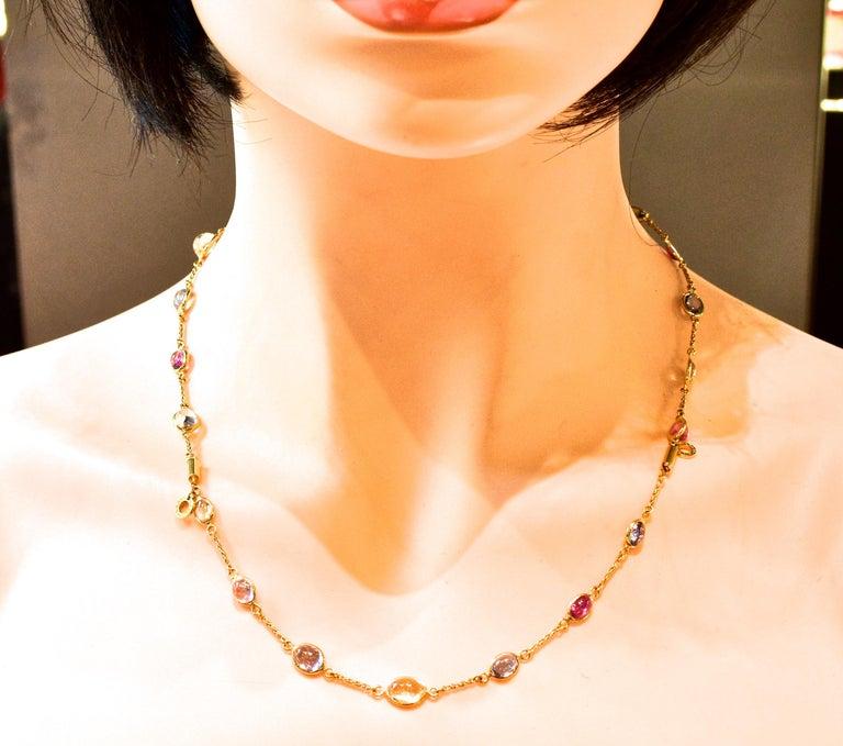 Bulgari Sapphire Stone 18 Karat Necklace Which Converts to 3 Bracelets For Sale 8