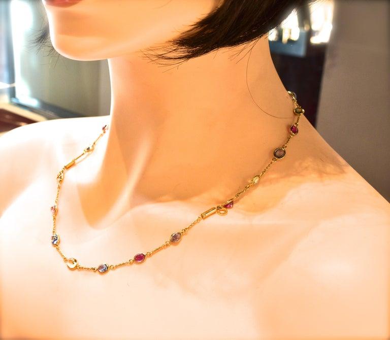 Bulgari Sapphire Stone 18 Karat Necklace Which Converts to 3 Bracelets For Sale 9