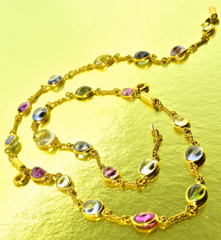 Bulgari Sapphire Stone 18 Karat Necklace Which Converts to 3 Bracelets In Excellent Condition For Sale In Aspen, CO