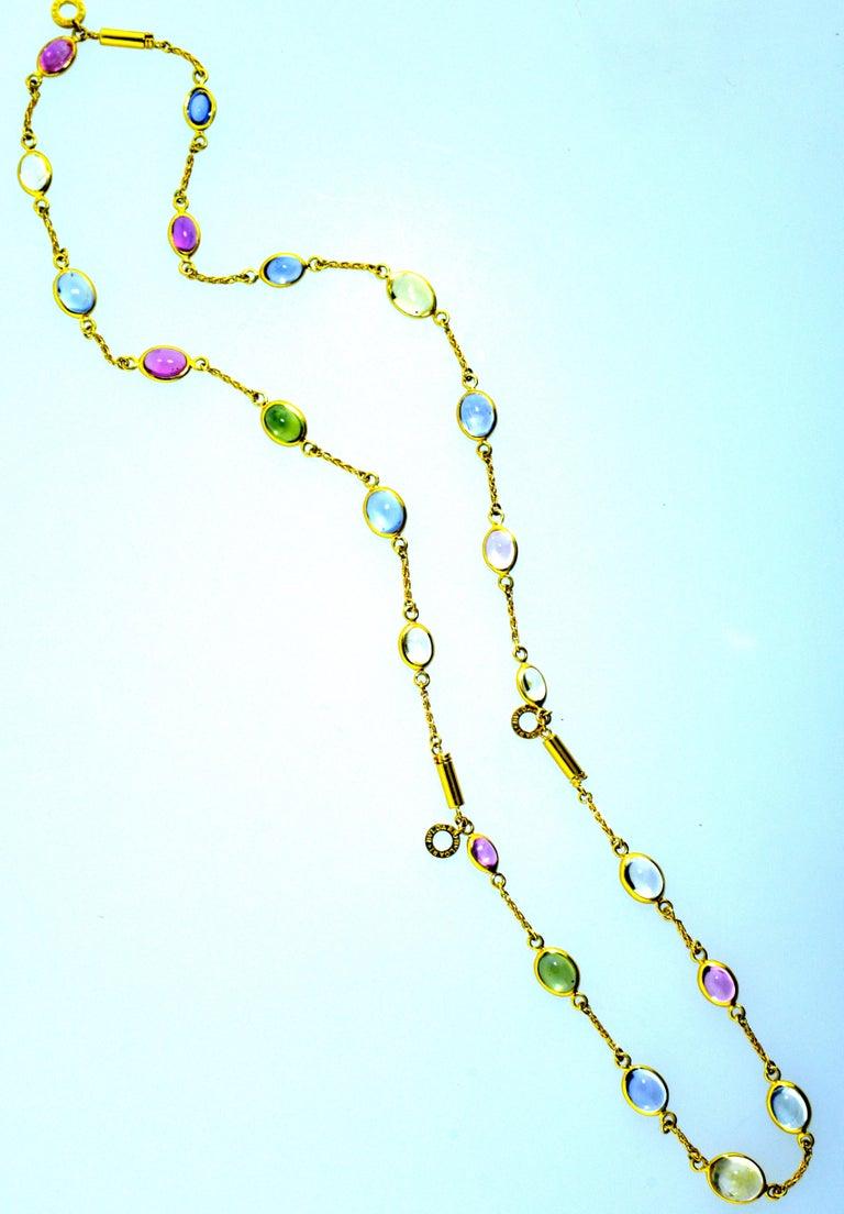 Women's or Men's Bulgari Sapphire Stone 18 Karat Necklace Which Converts to 3 Bracelets For Sale