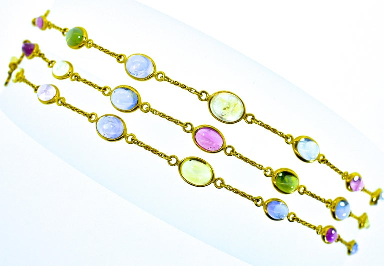 Contemporary Bulgari Sapphire Stone 18 Karat Necklace Which Converts to 3 Bracelets For Sale
