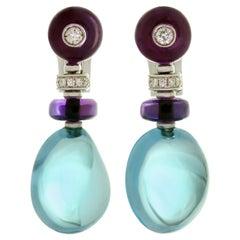 Bulgari Sassi Amethyst Topaz Diamond White Gold Earrings