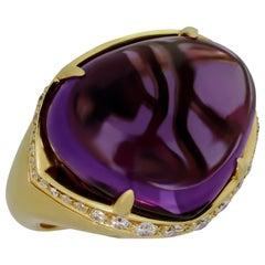 Bulgari Sassi Large Amethyst Diamond Yellow Gold Ring
