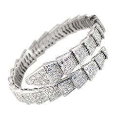 Bulgari Serpenti 18K White Gold Full Diamond Pave Bracelet Size Medium