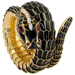 Bulgari Black Enamel Diamond Ruby Yellow Gold Serpenti Bracelet