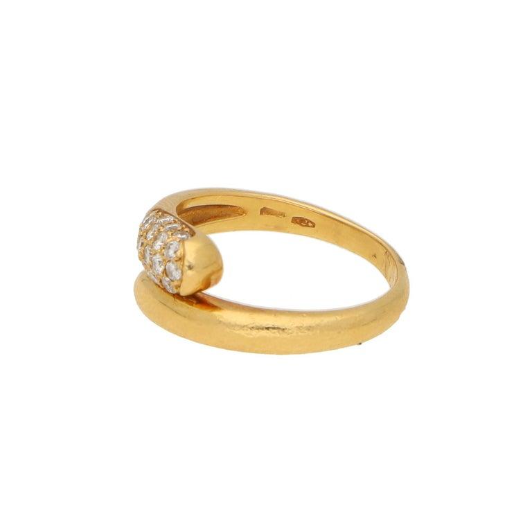 Contemporary Bvlgari Serpenti Diamond Ring 18K Yellow Gold For Sale