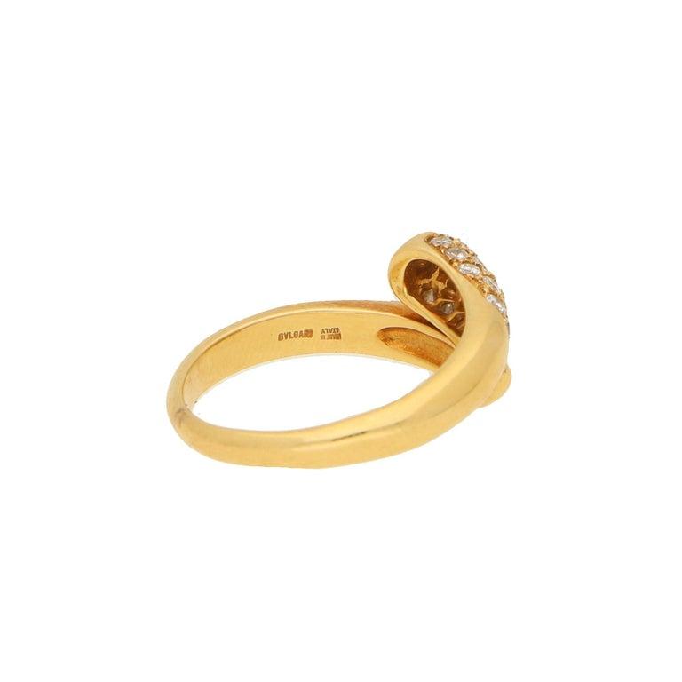 Round Cut Bvlgari Serpenti Diamond Ring 18K Yellow Gold For Sale