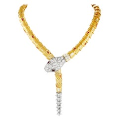 Bulgari Serpenti Full Diamond and Ruby Yellow and White Gold Snake Necklace