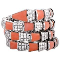 Bulgari Serpenti Full Diamond Pave and Coral White Gold Bracelet