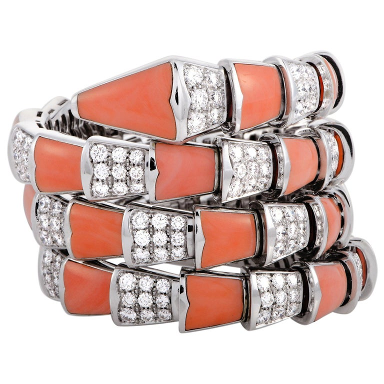 Bulgari Serpenti Full Diamond Pave and Coral White Gold Bracelet For Sale