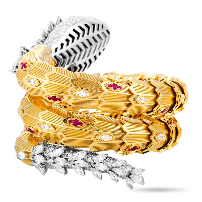 Bulgari Serpenti Full Diamond Pave and Ruby Yellow and White Gold Snake Bracelet In New Condition In Southhampton, PA