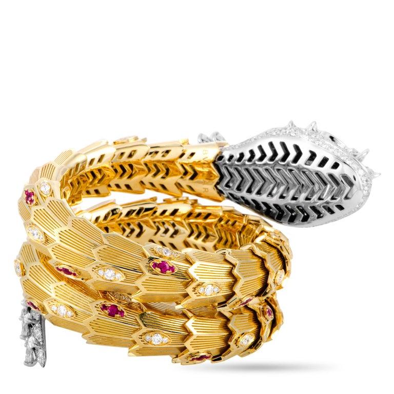 Women's Bulgari Serpenti Full Diamond Pave and Ruby Yellow and White Gold Snake Bracelet