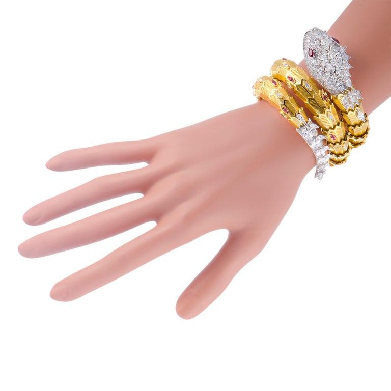 Bulgari Serpenti Full Diamond Pave and Ruby Yellow and White Gold Snake Bracelet 1