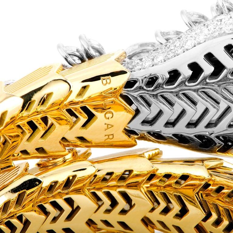 Bulgari Serpenti Full Diamond Pave and Ruby Yellow and White Gold Snake Bracelet 2