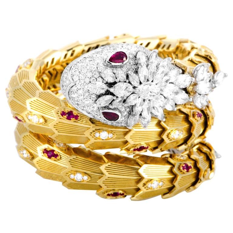 Bulgari Serpenti Full Diamond Pave and Ruby Yellow and White Gold Snake Bracelet