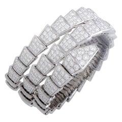 Bulgari Serpenti Full Diamond Pave White Gold Medium Bangle Bracelet