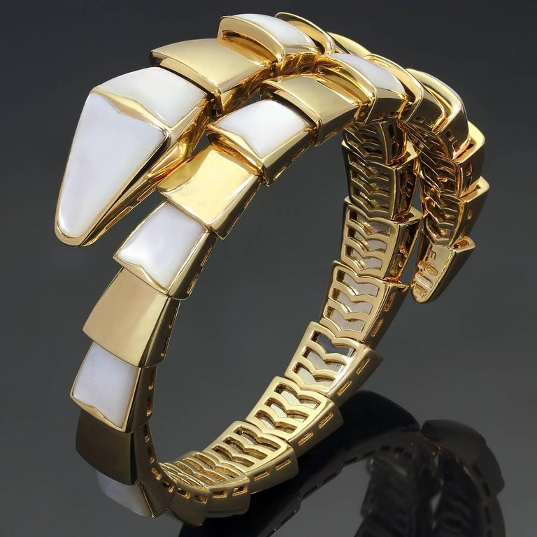 Bulgari Serpenti Mother Of Pearl Yellow Gold Wrap Snake