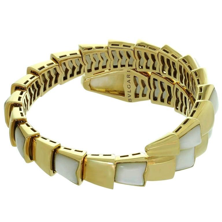 Bulgari Serpenti Mother-of-Pearl Yellow Gold Wrap Snake Medium Bracelet For Sale 1