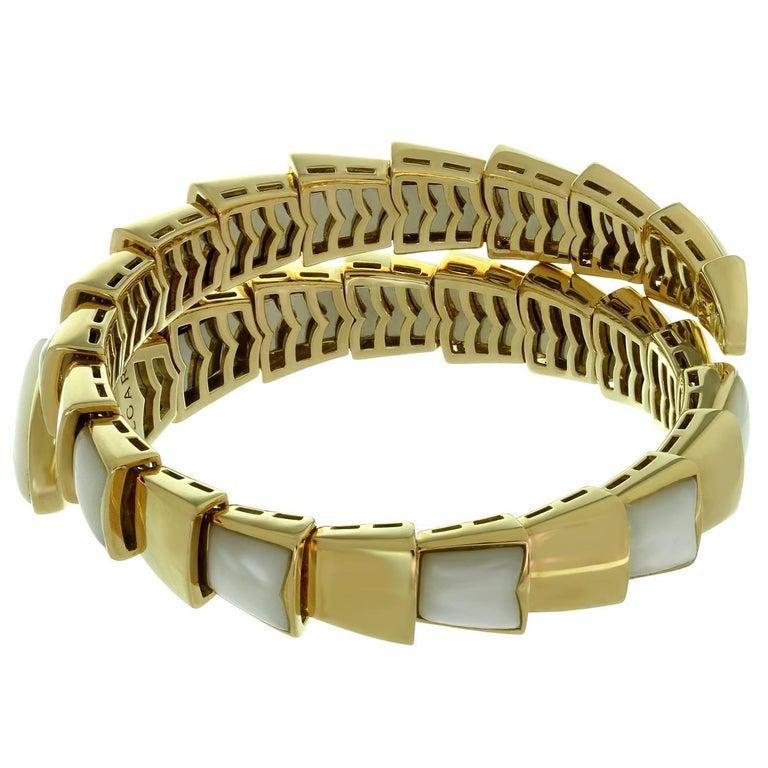 Bulgari Serpenti Mother-of-Pearl Yellow Gold Wrap Snake Medium Bracelet For Sale 2