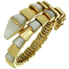 Bulgari Serpenti Mother-of-Pearl Yellow Gold Wrap Snake Medium Bracelet