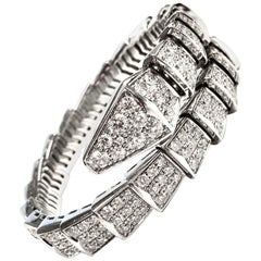 Bulgari Serpenti One Coil 18 Karat White Gold Full Pave Diamond Bracelet