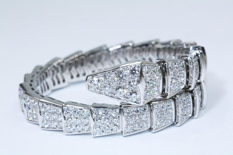 6f9090d9d Bulgari Serpenti One-Coil Bracelet in 18 Karat White Gold with Pave  Diamonds In Excellent