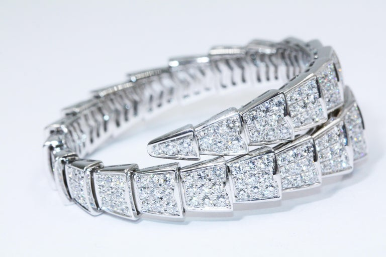 b28e76ef7 Women's Bulgari Serpenti One-Coil Bracelet in 18 Karat White Gold with Pave  Diamonds For