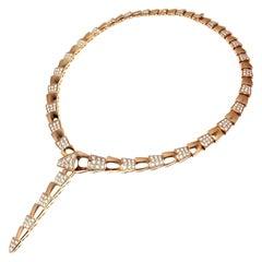 Bulgari Serpenti Pave Diamond Rose Gold Necklace