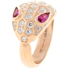 Bulgari Serpenti Rose Gold Full Diamond and Rubellite Ring
