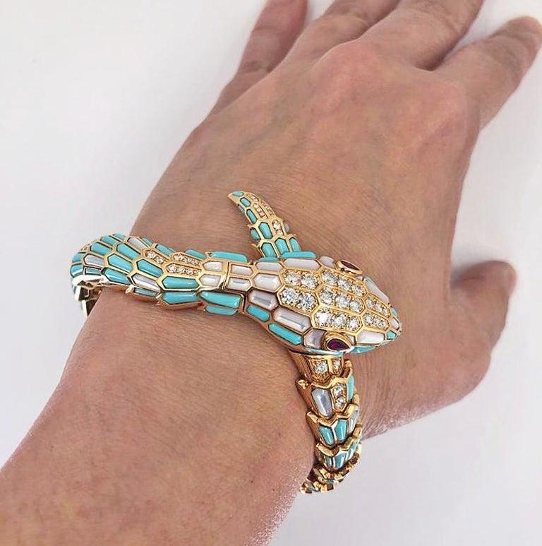 Mixed Cut Bulgari Serpenti Secret Turquoise Watch For Sale