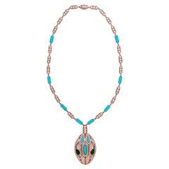 Bulgari Serpenti Seduttori Diamond, Emerald and Turquoise Snake Head Necklace