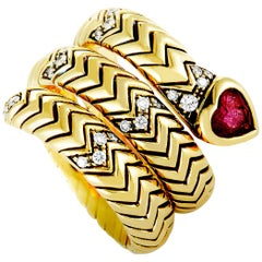 Bulgari Serpenti Tubogas Diamond and Ruby Yellow Gold Snake Ring