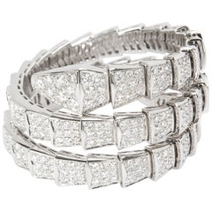 Bulgari Serpenti Wrap Diamond Bracelet in 18 Karat White Gold 15.8 Carat