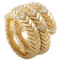 Bulgari Spiga 0.60 Carat Diamond 18 Karat Yellow Gold Band Ring