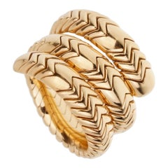 Bulgari Spiga 3-Row 18 Karat Yellow Gold Wrap Ring