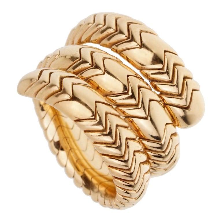 Bulgari Spiga 3-Row 18 Karat Yellow Gold Wrap Ring