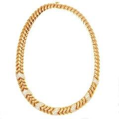 Bulgari Spiga Collection Diamond Gold Collar Necklace