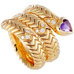 Bulgari Spiga Diamond and Amethyst Yellow Gold Heart Band Ring