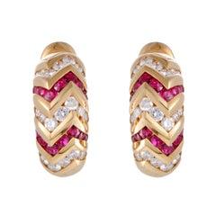 Bulgari Spiga Diamond and Ruby Yellow Gold Clip-On Earrings