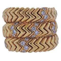 Bulgari Spiga Diamond Gold Wrap Ring