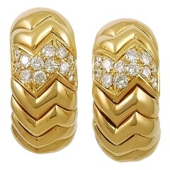 Bulgari Spiga Diamond Half Hoop Earrings