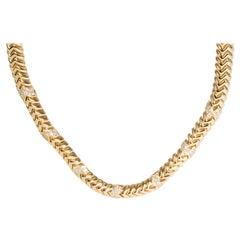 Bulgari Spiga Diamond Necklace in 18 Karat Yellow Gold 4.00 Carat