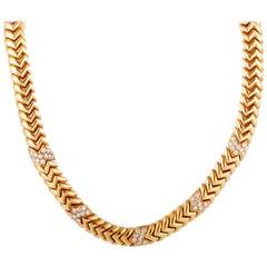 Bulgari Spiga Diamond Rose Gold Necklace