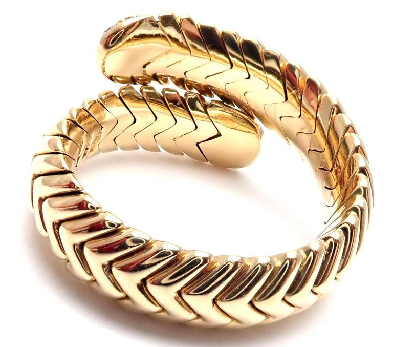 Women's or Men's Bulgari Spiga Diamond Snake Yellow Gold Band Ring For Sale