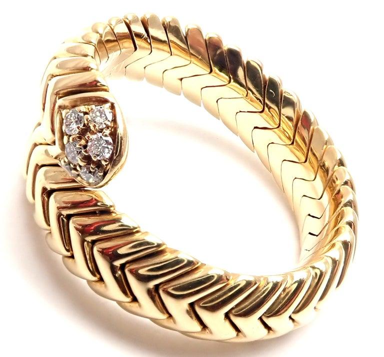 Bulgari Spiga Diamond Snake Yellow Gold Band Ring For Sale 1