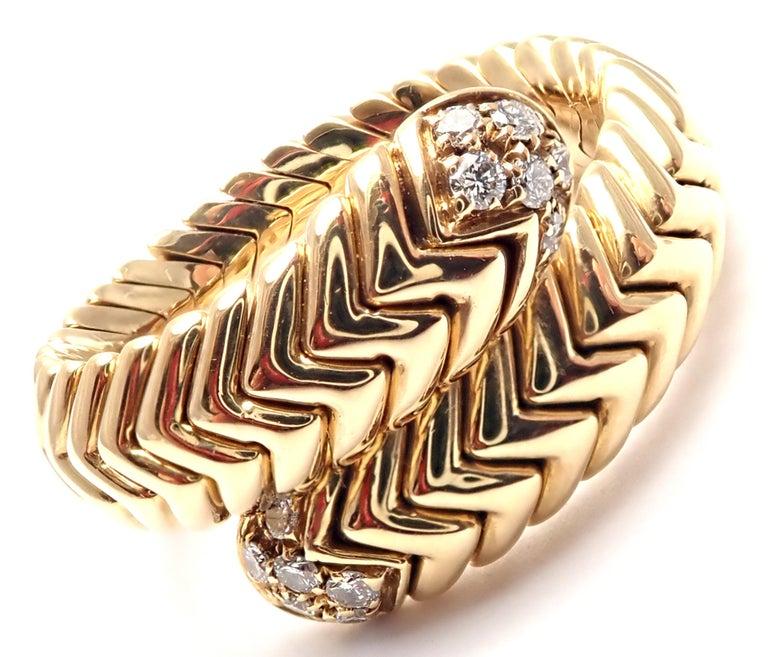 Bulgari Spiga Diamond Snake Yellow Gold Band Ring For Sale 2
