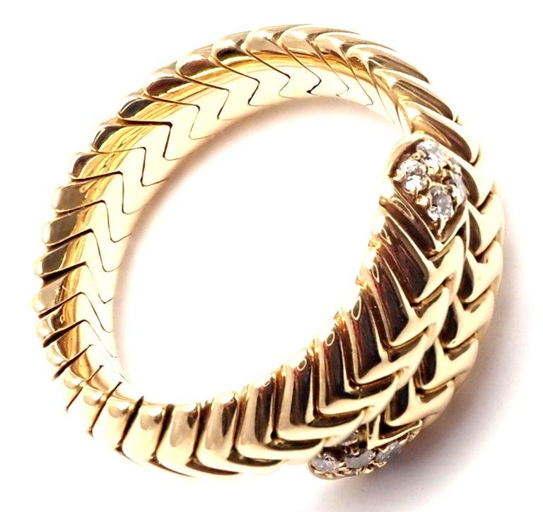 Bulgari Spiga Diamond Snake Yellow Gold Band Ring For Sale 3
